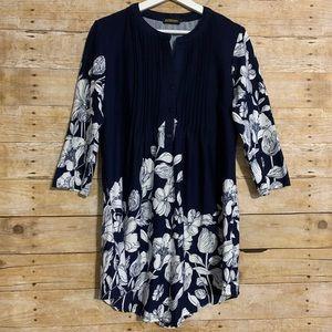 Reborn large 3/4 sleeve floral dress v neck tunic